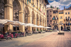 Piazza Grande in Arezzo city, Italy Royalty Free Stock Photography