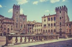 Piazza Grande in Arezzo, Italië royalty-vrije stock afbeelding
