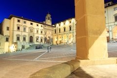 Piazza Grande in Arezzo at night Royalty Free Stock Photos