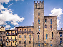 Piazza Grande in Arezzo stad, Italië stock fotografie