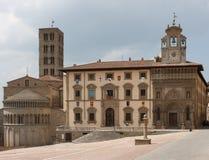 Piazza Grande Arezzo, Tuscany, Italien Arkivbild