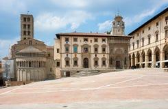 Piazza Grande Arezzo, Tuscany, Italien Arkivbilder