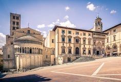 Piazza Grande em Arezzo, Itália foto de stock