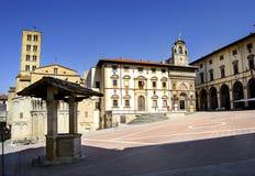 Piazza Grande i Arezzo Arkivfoton