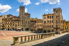 Piazza Grande the main square of tuscan Arezzo city, Italy Royalty Free Stock Photos