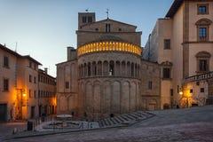 Piazza Grande the main square of tuscan Arezzo city, Italy stock photo