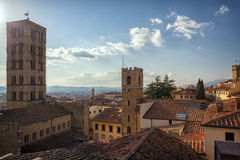 Piazza Grande the main square of tuscan Arezzo city, Italy Royalty Free Stock Image