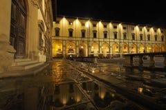 Piazza Grande nella notte, Arezzo, Toscana, Italia fotografie stock libere da diritti