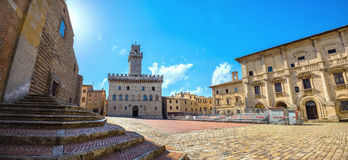 Piazza Grande and Palazzo Comunale in Montepulciano. Tuscany, It Royalty Free Stock Image