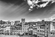 Piazza Grande von Arezzo stockbilder