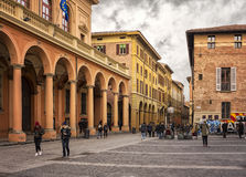 Piazza Guiseppe Verdi Bologna. BOLOGNA, ITALY - FEBRUARY 07, 2017. Student area of Piazza Guiseppe Verdi, by the street of Via Zamboni Royalty Free Stock Photography