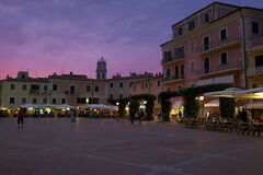 Piazza in Italy at sunset