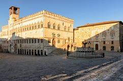 Piazza IV Novembre di Perugia Fotografia Stock