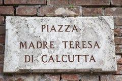 Piazza Madre Teresa di Calcutta Sign Stock Photo