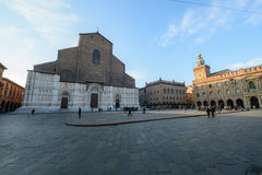 Piazza Maggiore à Bologna Photos libres de droits
