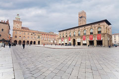 Piazza Maggiore with Accursio Palace Royalty Free Stock Image