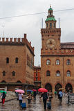 Piazza Maggiore with Accursio Palace. Stock Images
