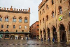 Piazza Maggiore with Accursio Palace and Palazzo del Podesta Royalty Free Stock Photos