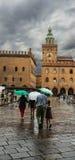 Piazza Maggiore with Accursio Palace and Palazzo del Podesta Stock Photos