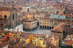 Piazza Maggiore aerial view Royalty Free Stock Images