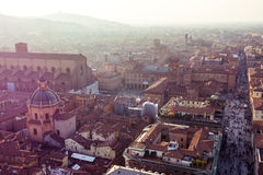 Piazza Maggiore from Asinelli tower in Bologna Royalty Free Stock Photos