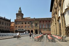 Piazza Maggiore in Bologna city, Italy Stock Images