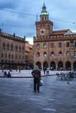 Piazza maggiore  of bologna in a cloudy day Stock Images