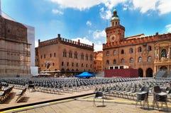 Piazza Maggiore, Bologna, Italy. Preparation for a concert on piazza Maggiore, Bologna, Italy Royalty Free Stock Photo