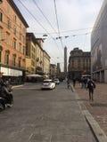 Piazza maggiore in het centrum van Bologna in Emilia-Romagna in Italië Royalty-vrije Stock Afbeeldingen