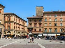 Piazza Maggiore i bolognaen, Italien fotografering för bildbyråer