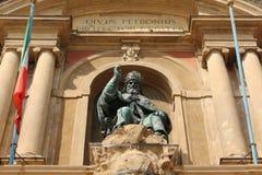 Piazza maggiore monument, Bologna, Italië Royalty-vrije Stock Fotografie