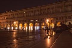 Piazza Maggiore przy nocą obraz royalty free