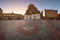 Piazza Maggiore and San Petronio Basilica in the Morning, Bologn Royalty Free Stock Photography