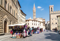 Piazza with market stalls. Florence Stock Photos