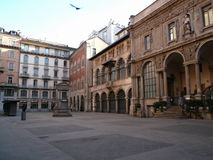 Piazza Mercanti, Milan, Italie Image libre de droits