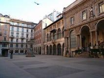 Piazza Mercanti, Milan, Italien Royaltyfri Bild