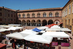 Piazza Municipale on Market Day. The Piazza Municipale in Ferrara, Emilia-Romagna, Italy on a summer weekend market day Royalty Free Stock Photos