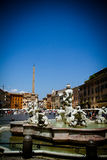 Piazza Navona. Vertical view of one of the fountain on famous square Piazza Navona in Rome, Italy Stock Image