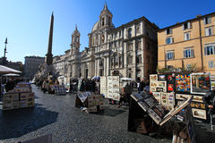 Piazza Navona. Tourists at Piazza Navona ,Rome, Italy. The iconic square is one of the most visited landmarks in the world and a top tourism destination in Italy Stock Image