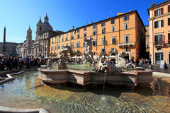 Piazza Navona. Tourists at Piazza Navona ,Rome, Italy. The iconic square is one of the most visited landmarks in the world and a top tourism destination in Italy Royalty Free Stock Image