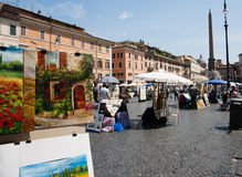 Piazza Navona, art markets Rome Royalty Free Stock Images