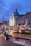 Piazza Navona bij schemer, Rome Royalty-vrije Stock Foto