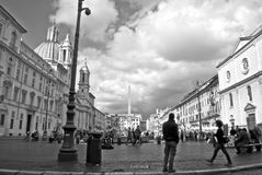 Piazza navona with clouds  black. Piazza Navona day in rome Stock Photo