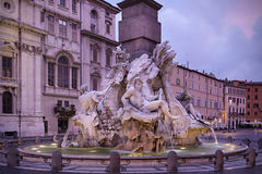 Piazza Navona at dusk, Rome Royalty Free Stock Photos