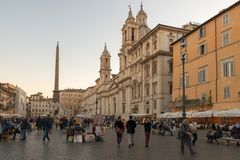 Piazza Navona. Elegant square dating from the 1st century A.D., with a classical fountain, street artists & bar. ROME, ITALY - OCTOBER 24, 2018: Piazza Navona stock image