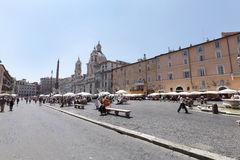 Piazza Navona is elongated oval-shaped public square in Rome Stock Images