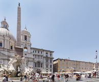 Piazza Navona is elongated oval-shaped public square in Rome Stock Photography