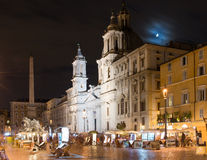 Piazza Navona and Fontana dei Fiumi by Berniny and Egypts obelisk and Santa Agnese in Agone church, Rome Stock Photo