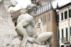 Piazza Navona, fontana dei Fiumi del Bernini in Ro Stock Images