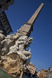 Piazza Navona fountain. Low angle view of Fountain of the four Rivers with Egyptian obelisk in Piazza Navona, Rome, Italy Stock Images
